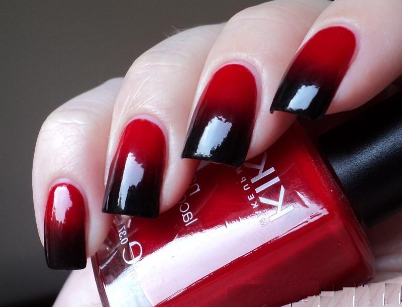 Черный с красным маникюр на коротких ногтях